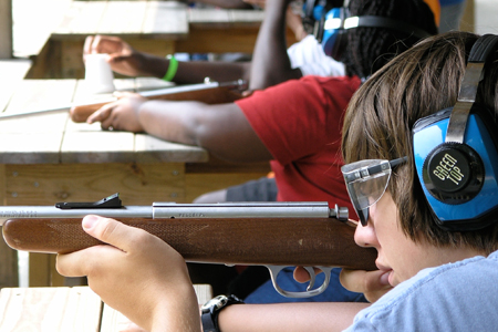 Kids learning to shoot at Airfield