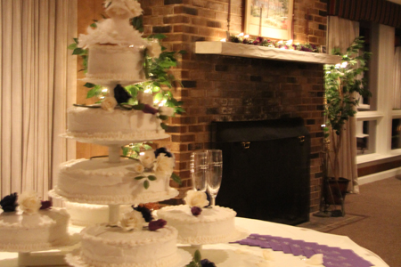 Wedding cake during a wedding at the Airfield Conference Center